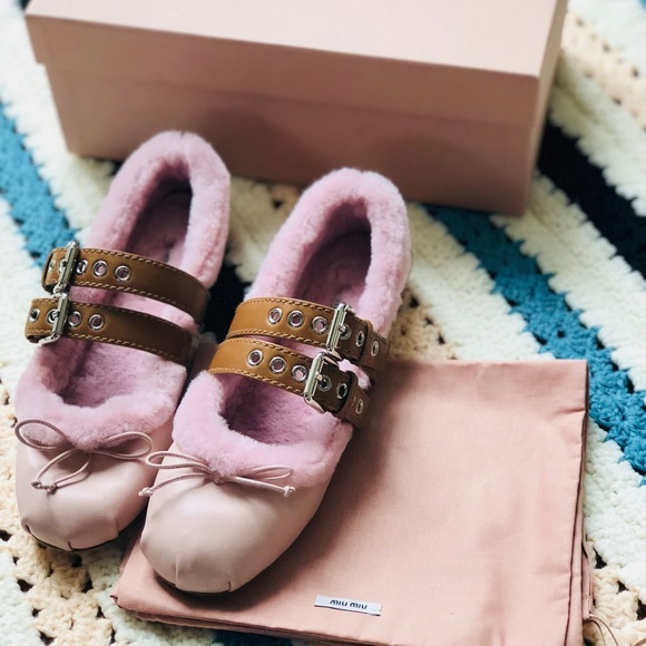 73dfd1a54e03 Miu Miu Pink leather fur buckle ballet flats